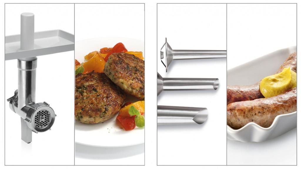 Accesorio picador de carne y accesorios embutidores de diferentes grosores