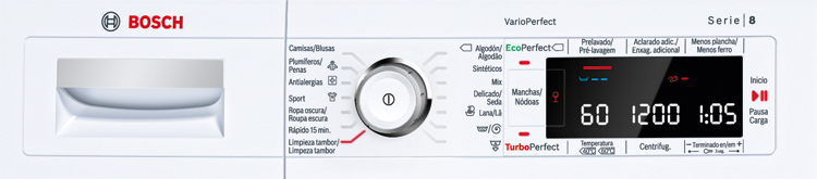 Panel de una lavadora Bosch