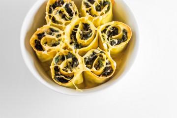 Receta de lasaña con espinacas.