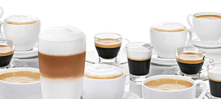 Variedad de cafés con cafetera súper automática