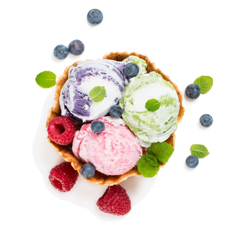 helados con fruta congelada