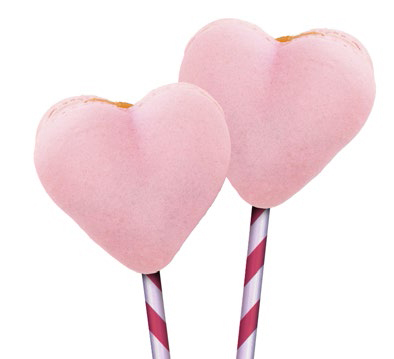 Piruletas con merengue para San Valentín.