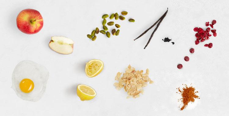 Ingredientes para el canelón de manzana