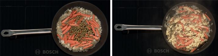 Arroz con coliflor en la sartén