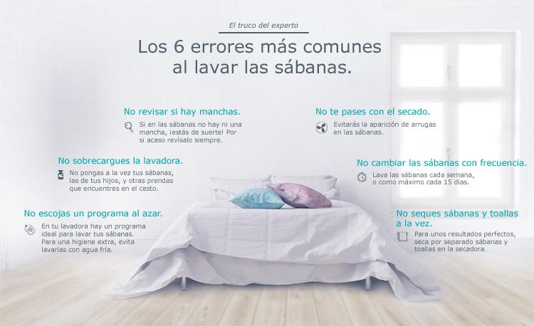 Lavar las sábanas correctamente, sin cometer errores.