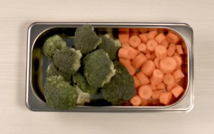 Al vapor todas las verduras tienen el mismo tamaño