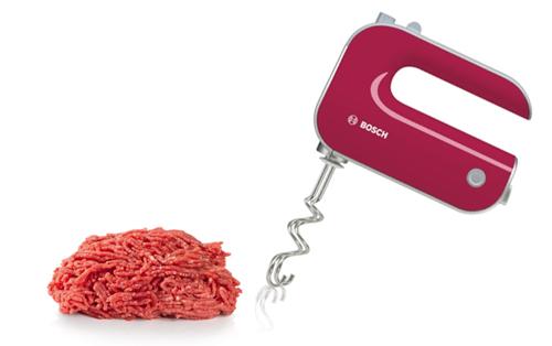 Amasar carne picada con batidora de reposteria