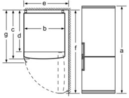 Plano de instalación de la nevera