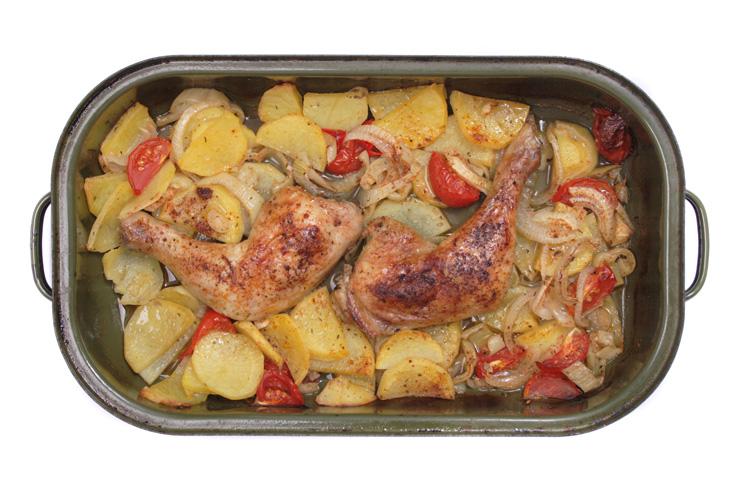 Pollo con patatas panaderas