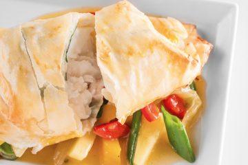pescado con verduras agridulces